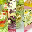 Collage of various salads — Foto Stock #40848393