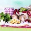 Stock Photo: Cream cheese with vegetables and greens on wooden table close-up