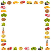 Frame of exotic fruits isolated on white — Stok fotoğraf