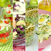 Collage of various salads — Stock Photo