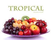 Assortment of juicy fruits isolated on white — Stock Photo