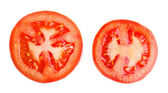 Slices of fresh tomato, isolated on white — Stock Photo