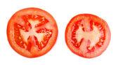 Slices of fresh tomato, isolated on white — Stock Photo