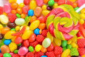 Different colorful fruit candy close-up — Stok fotoğraf