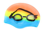 Swim cap and goggles isolated on white — Stock Photo
