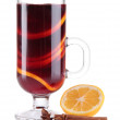 Stock Photo: Mulled wine with lemon and spices isolated on white