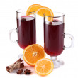Mulled wine with oranges and spices isolated on white — Stock Photo