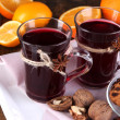 Stock Photo: Mulled wine with oranges and cookies on table close up