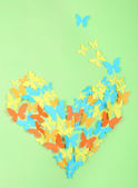 Paper butterflies on green wall — Foto Stock