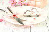 Romantic holiday table setting, close up — Stock Photo