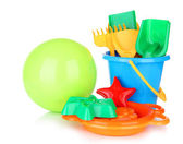 Bright ball and sandbox toys isolated on white — Stock Photo