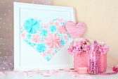 Home decor with handmade picture — 图库照片