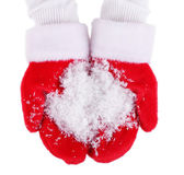 Hands in Christmas red gloves, isolated on white — Stock Photo