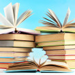 Stacks of books on table on natural background — Stock Photo