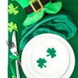 Table setting for St Patricks Day with white background — Stock Photo #40932967