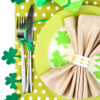 Table setting for St Patricks Day with white background — Stock Photo #40932969