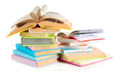 Stacks of books isolated on white — Stock Photo