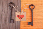 Keys to heart, Conceptual photo. On color background — Stock Photo