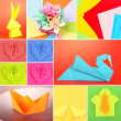 Collage of different origami papers close-up — Stock Photo