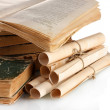 Pile of old books and scroll isolated on white — Stok Fotoğraf #40994157