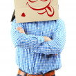 Man with cardboard box on his head isolated on white — Stock Photo #40994581