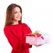 Attractive woman with gift box, isolated on white — Stock Photo