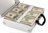 A lot of one hundred dollar bills in a case isolated on white — Stock Photo