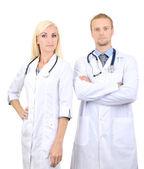 Trabajadores médicos aislados en blanco — Foto de Stock