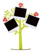 Soporte en forma de árbol con foto instantánea tarjetas aislado en blanco — Foto de Stock