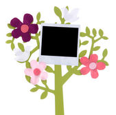 Holder in form of tree with instant photo card isolated on white — Stock Photo