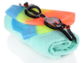 Set for pool: swim cap, goggles and towel isolated on white — Stock Photo