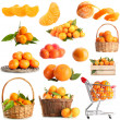 Collage of ripe tangerines isolated on white — Stock Photo