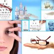 Stock Photo: Collage of equipment for good vision, close-up