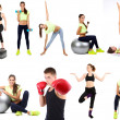 Young people exercising collage isolated on white — Stock Photo #41232429