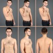 Snapshots of model. Handsome mon grey background — Stok Fotoğraf #41232567
