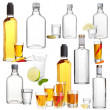 Collage of alcohol drinks. Vodka isolated on white — Stock Photo #41232613