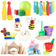Stock Photo: Collage of children toys isolated on white