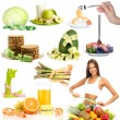 Stock Photo: Collage of diet products isolated on white
