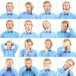 Collage of handsome emotional misolated on white — Stock Photo #41232749