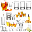 Collage of alcohol drinks. Vodka isolated on white — Stock Photo