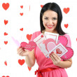 Attractive young woman with cards on Valentine Day — Stock Photo #41233115