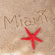 Inscription Miami in wet sand close-up background — Stock Photo