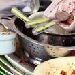 Stock Photo: Kitchen utensils need wash close up