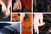 Musical collage. Guitar — Stock Photo