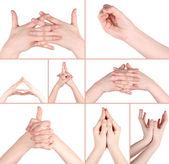 El hareketleri yoga kolaj — Stok fotoğraf