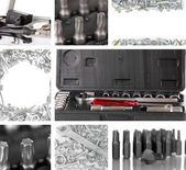 Collage of metal workshop tools close-up — 图库照片