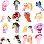 Collage of different funny sock puppets — Stock Photo