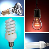 Collage of light bulbs on colorful background — Stock Photo