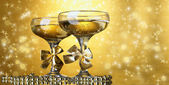 Two glasses of champagne on bright background with lights — Stock Photo