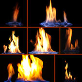 Collage of fire on black background — Stock Photo